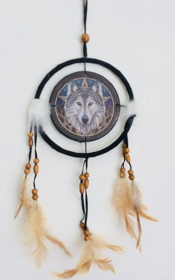 Printed DREAM CATCHER Small Diameter 9cm - Wolf Head